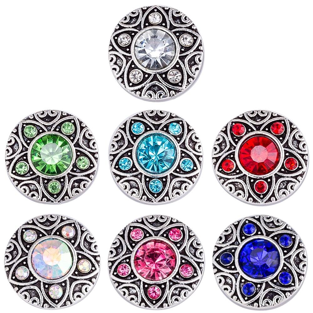 Broche a presión de 18mm, broches de diamantes de imitación para pulseras de presión, joyería de jengibre, broche de cristal TZ9130 TZ9131