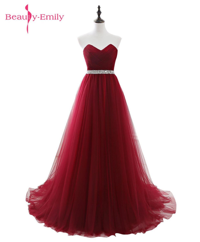 Beauty Emily, винно-красные длинные вечерние платья, 2020 милое, без рукавов, с кружевом, длиной до пола, бисероплетение, вечерние платья для выпускн...