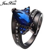 Junxin blau schwarz gold gefüllt cz mit weißen kristall schmuck ringe für frauen und männer freundschaft hochzeit geschenk