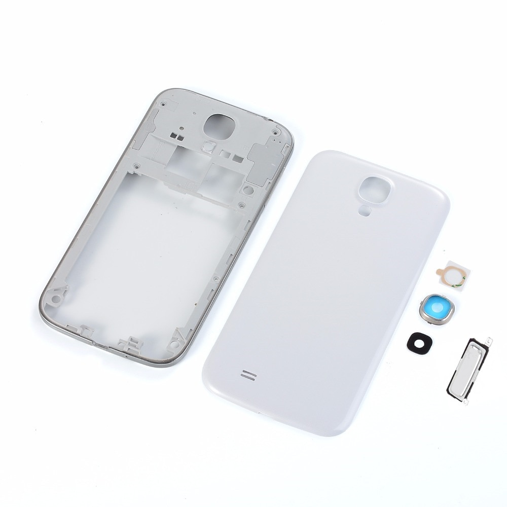 Original para Samsung Galaxy S4 I9500 I337 i9505 i747 carcasa marco medio + cubierta trasera de batería + cubierta de lente de cámara + botón de inicio