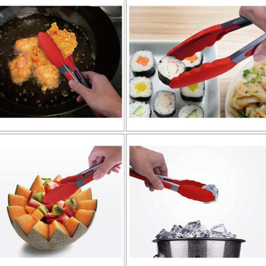 Edelstahl Lebensmittel Zange Silikon Grill Clip Grill Zange Multifunktionale Küche Lebensmittel Zange