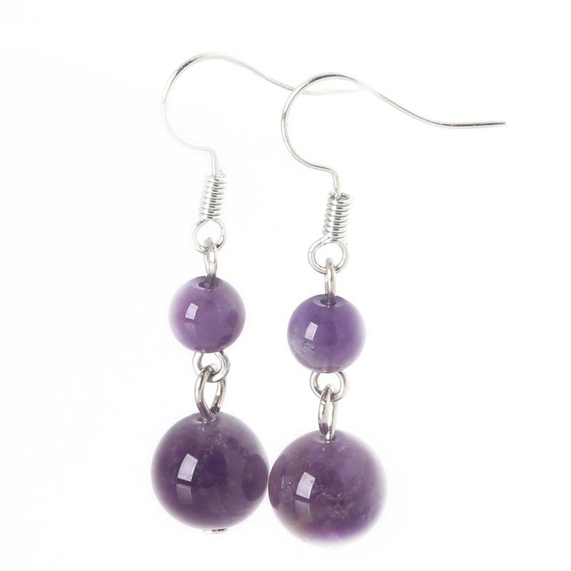 New Fashion 6mm+10mm Earrings for Women Natural Beads Stone Dangle Long Lady Earrings Jewelry