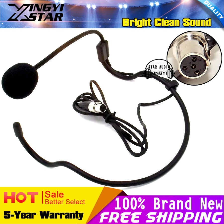 Мини XLR 4 Pin TA4F 4 Pin разъем, Заушник, гарнитура, микрофон, головная повязка, микрофон для SHURE, беспроводной трансмиттер