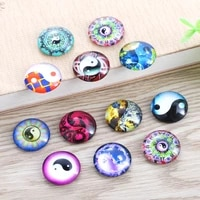 tylfnl 12mm 20mm handmade photo glass cabochons tai chi pattern domed round jewelry accessories supplies for jewelry s 010205