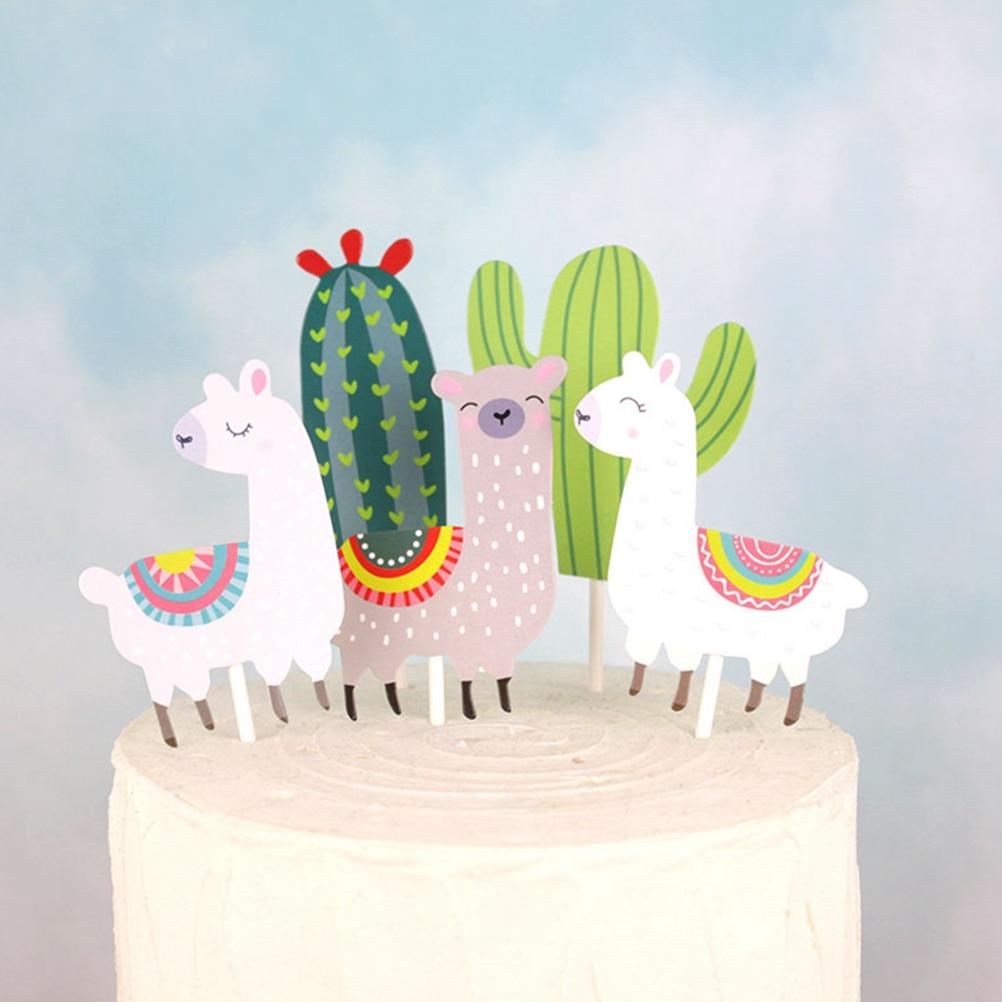 25pcs lindo Topper de la torta de papel Cactus Alpaca pastel Topper Toppers de Cupcake de insertar fruta elige postre Mesa Decoración