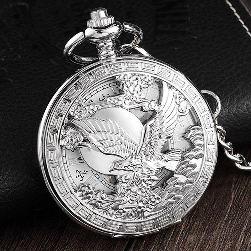 Collar de cuerda a mano con números romana plateada y águila calva Reloj de bolsillo mecánico calva con huecos reloj Unisex Fob