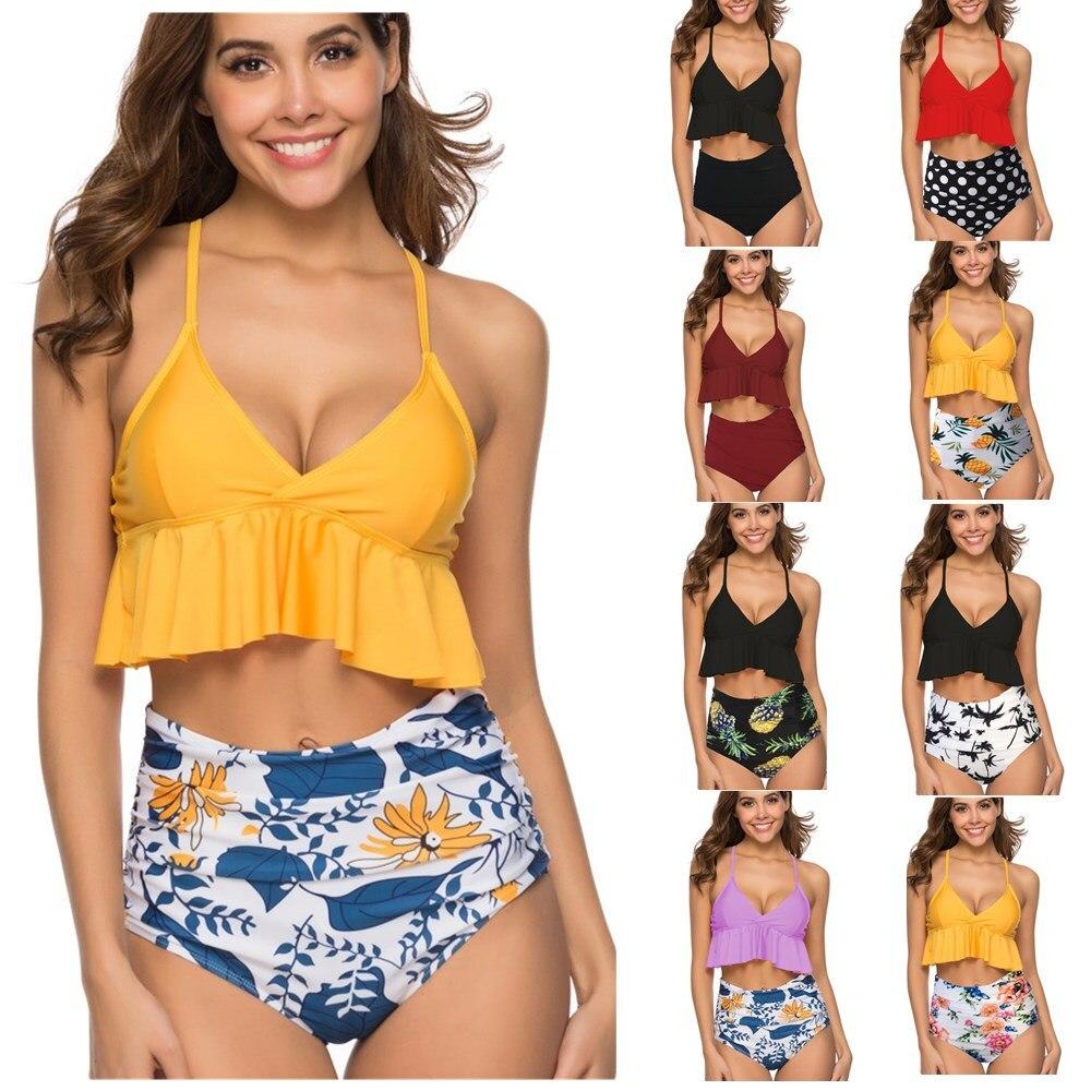 Pregnancy Swimwear High Waist Swimwear Women Sexy Bikini Sets Maternity Woman Swimsuit New 2019 Summer Beach Pregnant Clothes