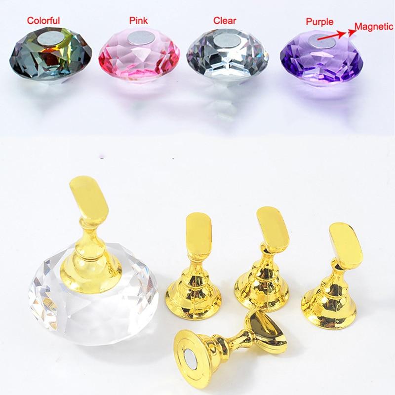 5 sztuk w jednym zestawie magnetyczne tipsy stojaki na paznokcie polski uchwyt na haczyki szachownica podstawa kryształowa 4 kolory