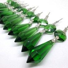 20 pièces/lot lustre en verre cristal vert glaçon goutte pendentifs suspendus prismes déclairage pièces hauteur 55mm (2.16