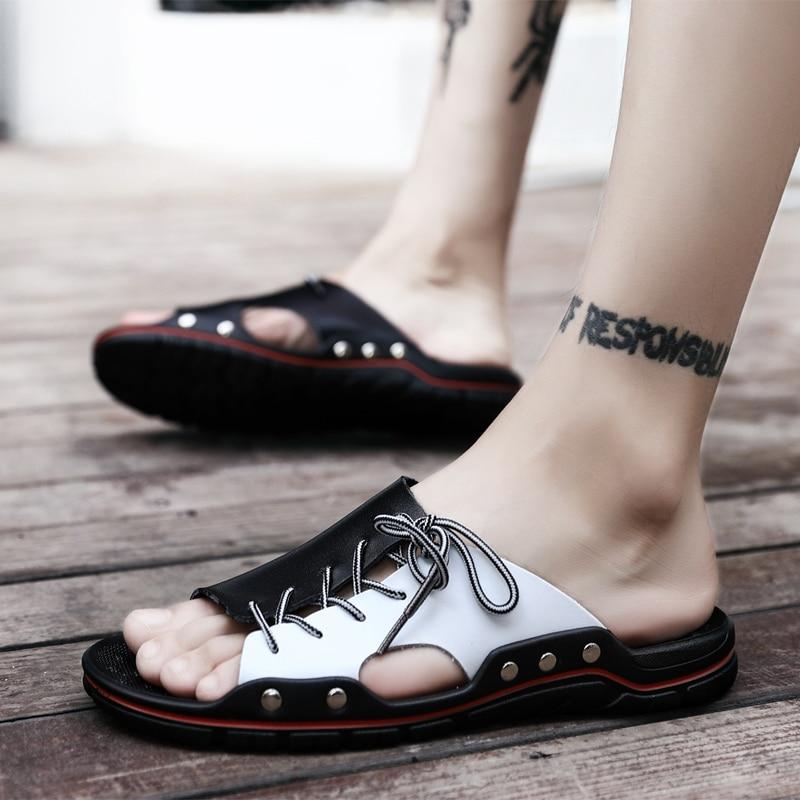 Nuevas sandalias de estilo callejero Weweya para hombre, sandalias de cuero de verano para hombre, zapatos de playa a la moda con cordones cruzados, chanclas para caminar al aire libre para hombre