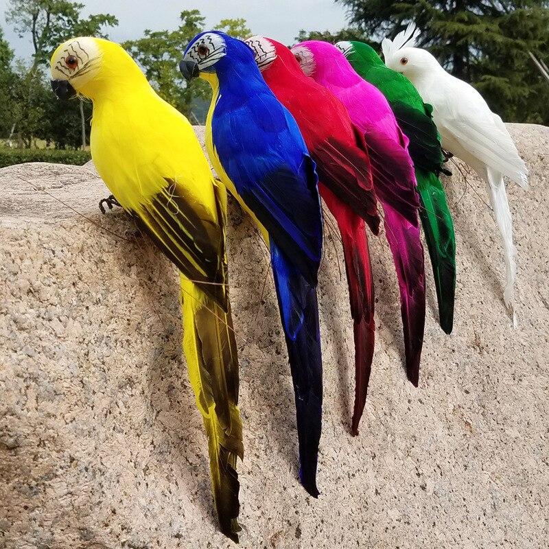 Simulación de loro hecha A mano, 1 unidad de 15/25/35cm, pluma creativa, adorno para césped, pájaro Animal, jardín, pájaro, accesorio de decoración A