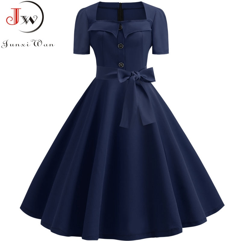 Retro Polka Dot Dress for Women 2019 Summer Square Collar Elegant Vintage Dress 50s Pin Up Rockabilly Vestidos Robe Plus Size