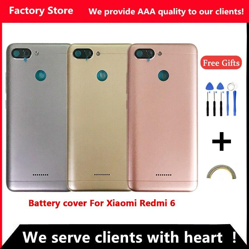 Задняя крышка аккумулятора для Redmi 6, задняя крышка аккумулятора для Redmi 6A, задняя крышка корпуса + кнопки регулировки громкости, объектив камеры