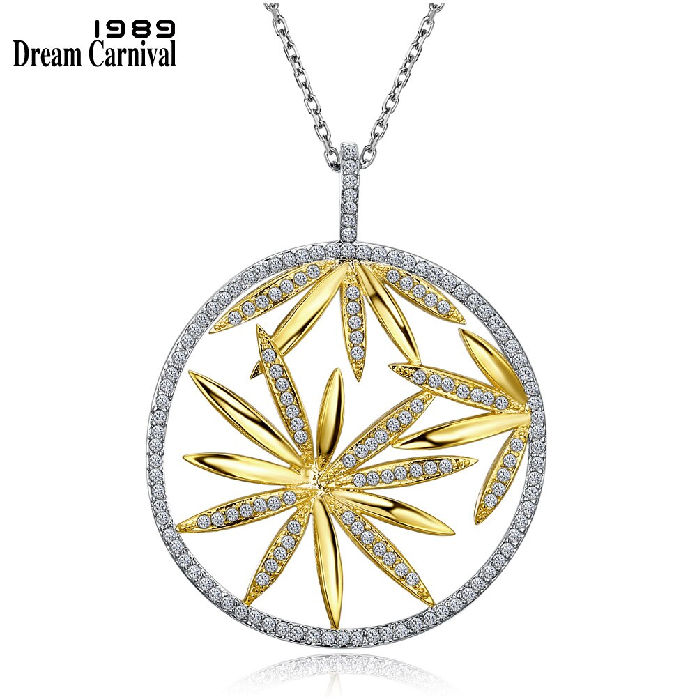 Collar con colgante de flor grande DreamCarnival 1989 para Estilo de Mujeres, collar hueco, bisutería, Collana, Zirconia, 2 tonos, Color dorado WP6431