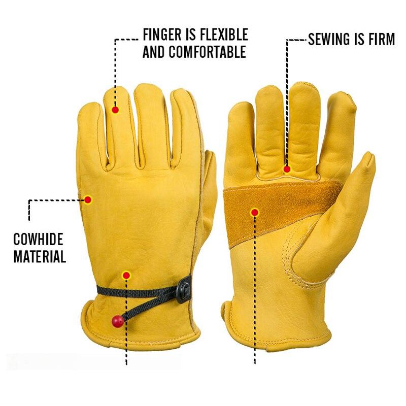 OZERO-guantes de trabajo de cuero de vaca para hombre, protección de seguridad, para soldar, cálidos, 1004