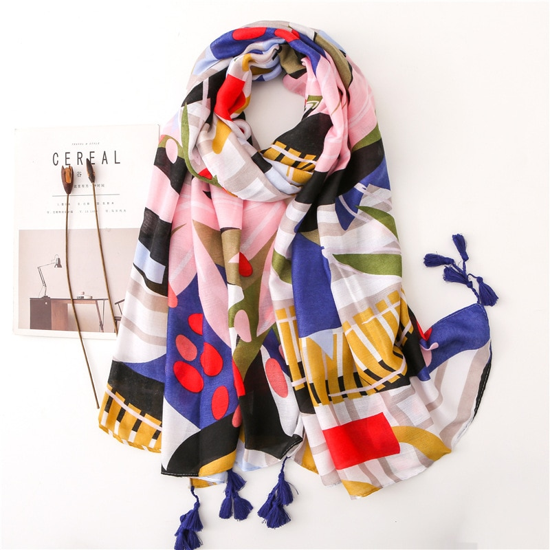 ¡Novedad de 2019! bufanda chal de viscosa con borlas florales de retales a la moda de España, pashmina de abrigo de alta calidad, estola, Bufandas, Hijab musulmán, redecilla