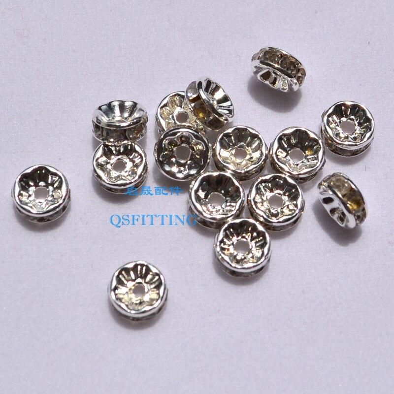 Vends accessoire de bijoux, bague en strass 8 MM, couleur blanche, perles de bracelet, cristal de perle de roue