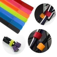 Paquete de 50 Uds. De gancho de cinta mágico de nailon reutilizable colorido, Lazos de Cable, correas organizadoras