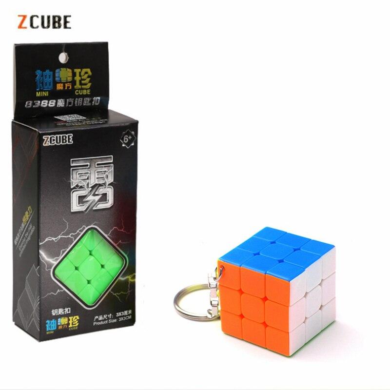 Zcube 3 см брелок Волшебные кубики 3x3x3 Кубики-головоломки многоцветные кубики обучающие игрушки для детей мини-кубик + розничная упаковка