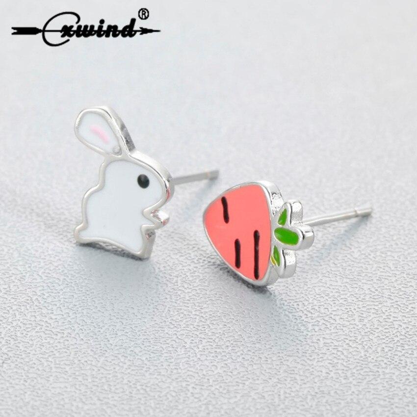 Cxwind Cute Enamel Bunny Rabbit Carrot Stud Earrings for Women Creative Cartoon Animal Dog Flower Ea