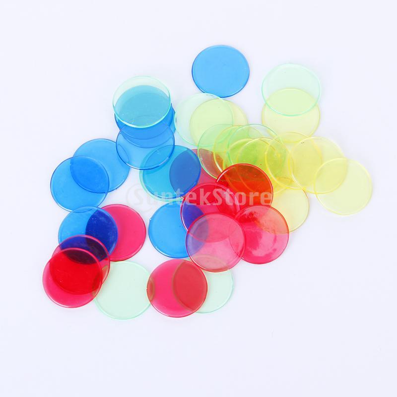 2 paquetes 100 Uds de plástico profesional con fichas marcadoras para Bingo para tarjetas de juego de Bingo 2cm 4 colores rojo/amarillo/azul/verde