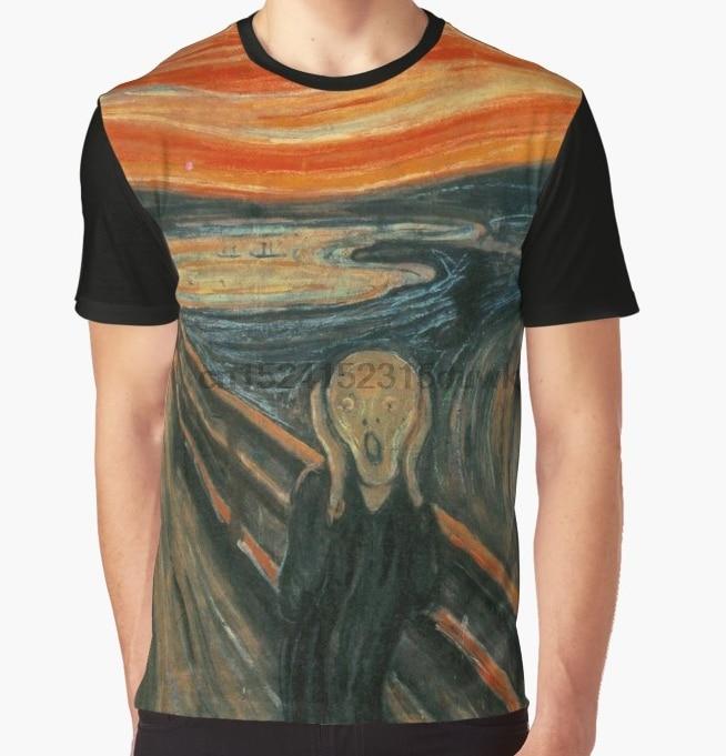 Camiseta estampada para hombre, divertida camiseta the scream edvard munch, camisetas gráficas de manga corta y cuello redondo, camiseta para mujer