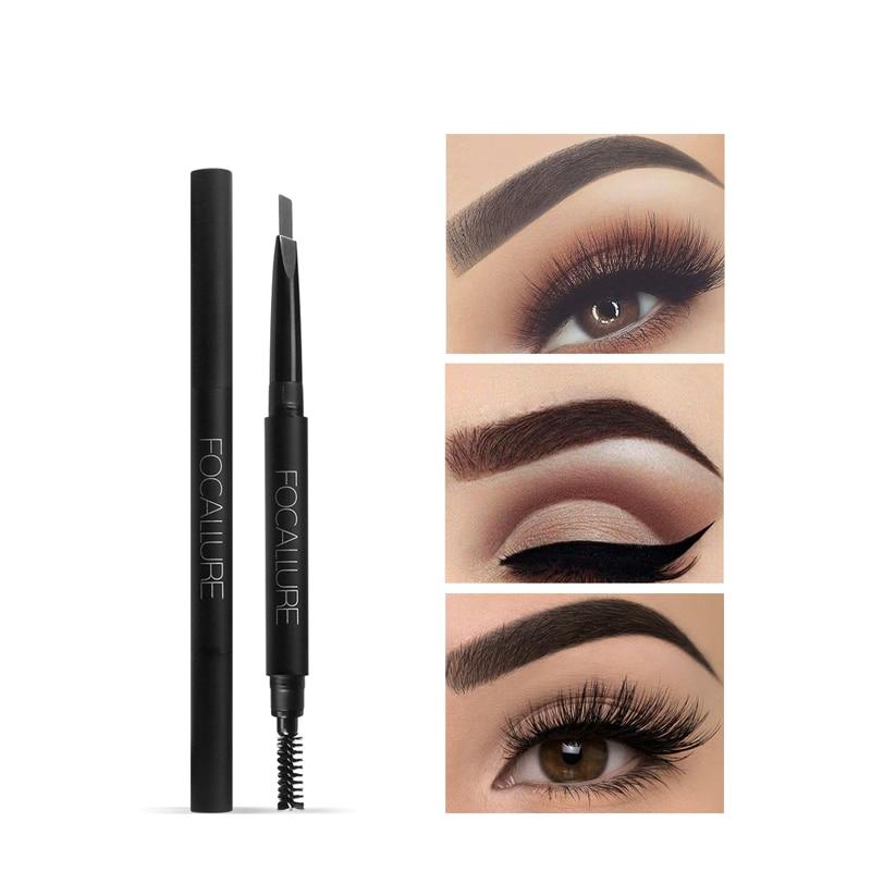 FOCALLURE Natural a prueba de agua de larga duración sombra ceja lápiz Kit lápiz para cejas maquillaje Liner Powder Shaper Cosmetic Makeup Tool