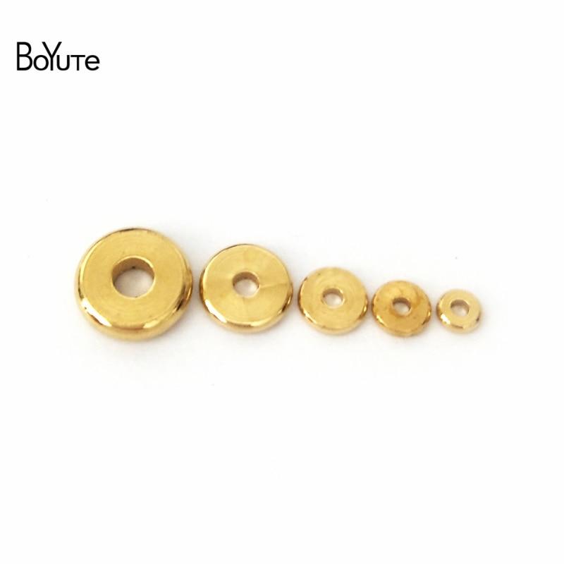 BoYuTe (100 części/partia) 3MM 4MM 5MM 6MM 7MM 8MM 10MM 12MM okrągły Metal mosiądz Diy koraliki dystansowe luzem koraliki do tworzenia biżuterii