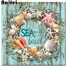 New full square/round Diamond Embroidery sale 5d Diy Diamond Painting Sea Shells Wreath diamond mosaic flower modern wall arts