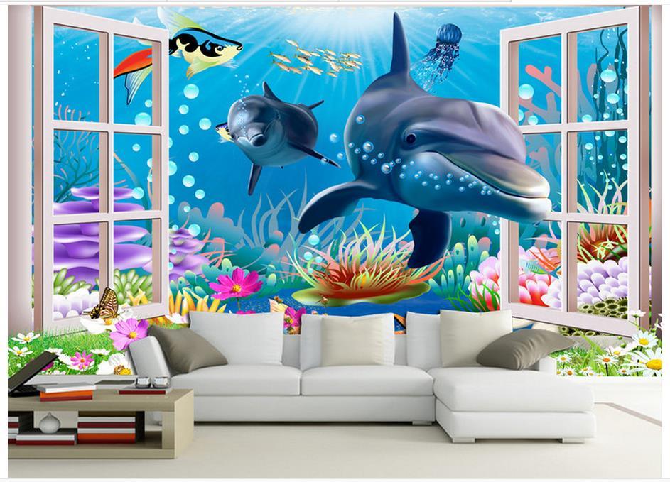 De alta calidad, gran oferta nuevo de papel pintado con foto 3D murales 3 d océano acuario niños de dibujos animados de fondo de sala pared pinturas