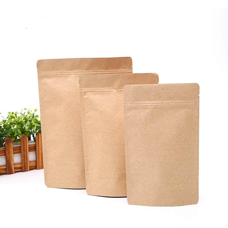 Bolsa ziplock de papel Kraft 100 Uds. Bolsas de empaque para caramelos de regalo para alimentos, bolsas pequeñas y grandes