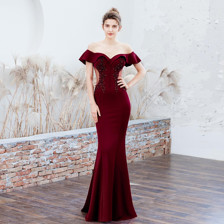 2019 novas roupas brinde noiva longo red one shoulders obrigado casamento festa saia rabo de peixe fino vestido de noite mulher senhora