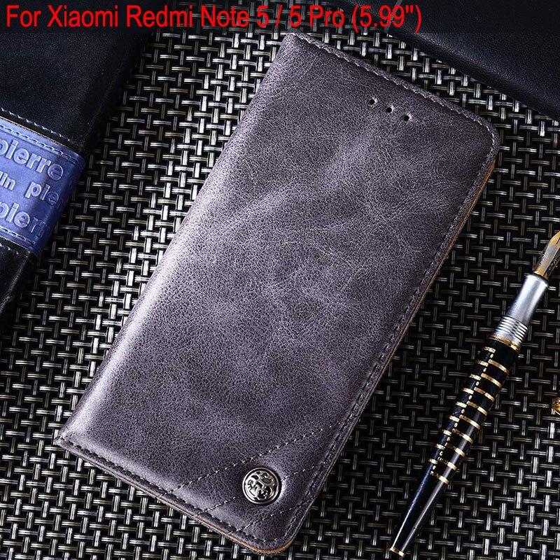 Para xiaomi redmi nota 5 caso 5.99 luxury luxo couro flip capa suporte slot para cartão casos para xiaomi redmi nota 5 pro sem ímãs
