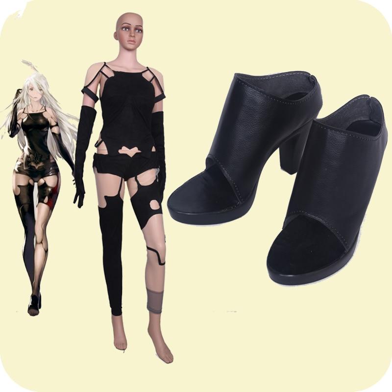 NieR Automata 2A YoRHa Tsuki A2 تأثيري أحذية الفتيات أحذية سوداء للهالوين تأثيري مخصص