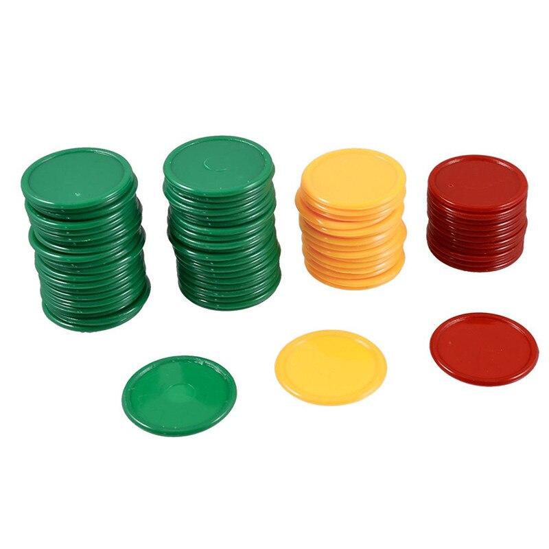 Baby-fuction juguete para aprender matemáticas, amarillo, verde, rojo, redondo, en forma de Mini fichas de póker, accesorios de juego de la suerte, mejorar la habilidad de matemáticas de los niños