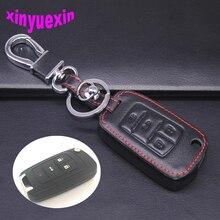 Xinyuexin Leather Car Key Cover Fob Case For Chevrolet sonic Cruze AVEO SAIL TRAX CAPTIVA Malibu Silverado With Keychain 4Button