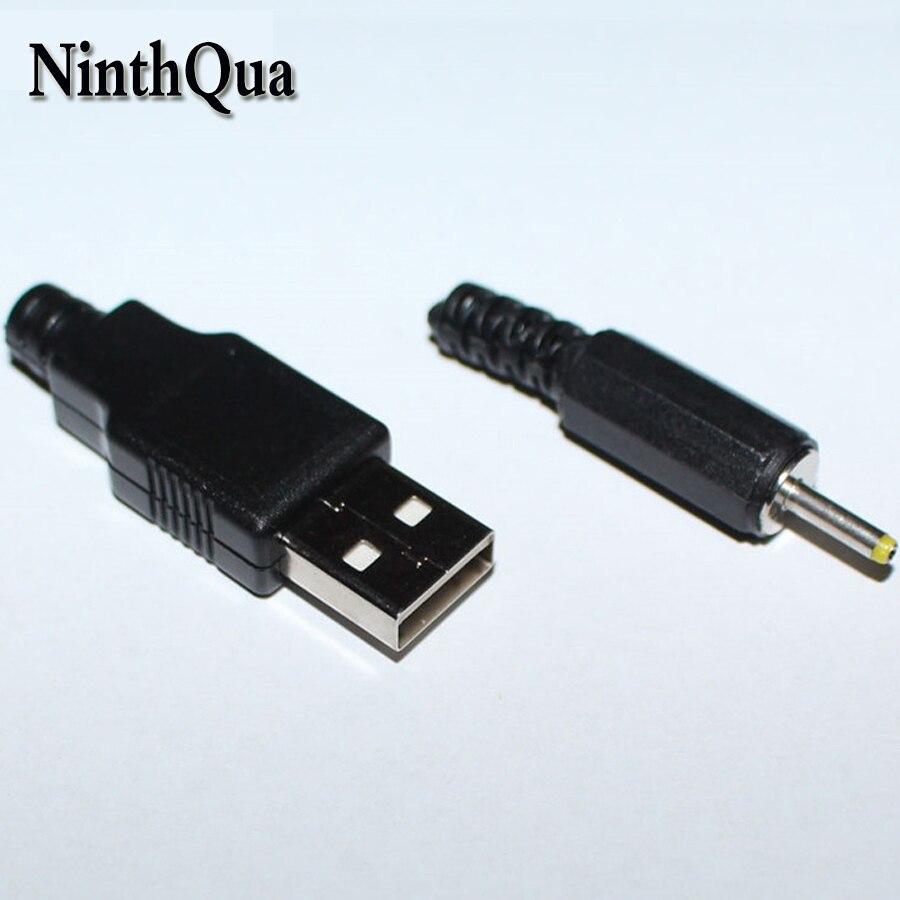 2 pares USB macho + 2,5*0,7mm DC cargador de enchufe jack DIY conector para Pipo M9 Pro 3G Ampe A10 Deluxe Sanei N10 Q88 NABI ect
