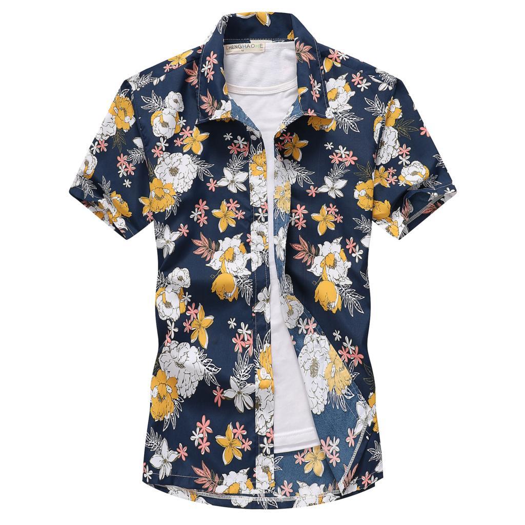 Camisa hawaiana de playa informal de manga corta con estampado de cocotero Floral para hombre, ropa de talla grande 5XL