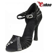 Evkoodance femme chaussures de danse chaussures latines taille US 4-12 10 cm talon haut noir argent marron Satin avec strass Evkoo-443