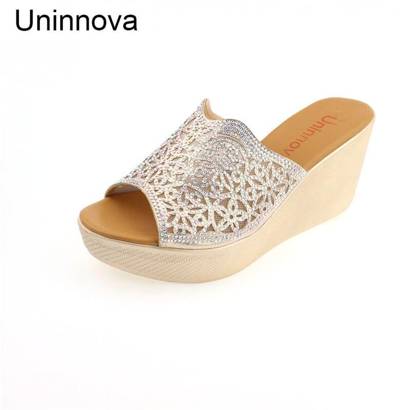 Uninnova Womens Crystal Wedge Super High Heel Silver Outdoor Slipper Fashion Womens Shoes WSL029