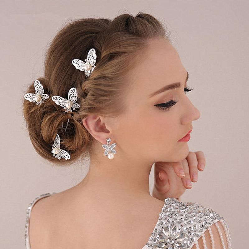 Nuevo tocado de moda para niña, horquilla de mariposa metálica dorada brillante para cabello, joyería para mujer, accesorios para el cabello de novia