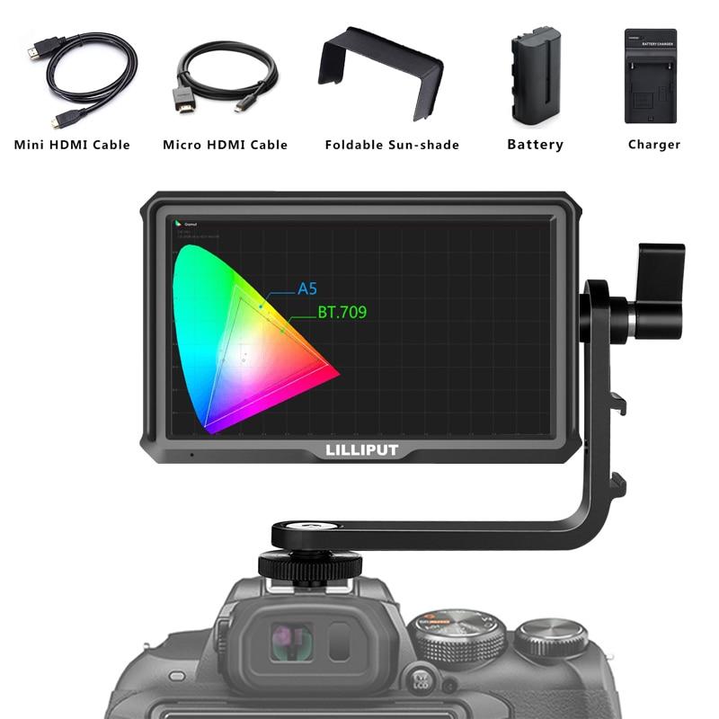 "Monitor de cámara Lilliput A5 5 ""IPS 4K HDMI para cámara DSLR o sin Espejo, Monitor de vídeo de campo superior de la cámara"