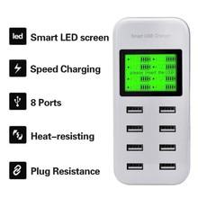 5V 2.1A US/EU 8ports USB chargeur mural Hub Smart chargement Dock LCD affichage pour Smartphone tablettes AC100-240V multi-port chargeur F