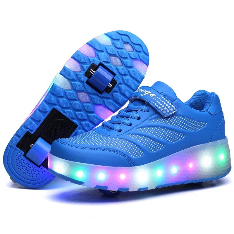 Zapatillas de deporte de luz LED Heelys con dos ruedas para niños y niñas, zapatos casuales de patín con ruedas para chicas ruedas