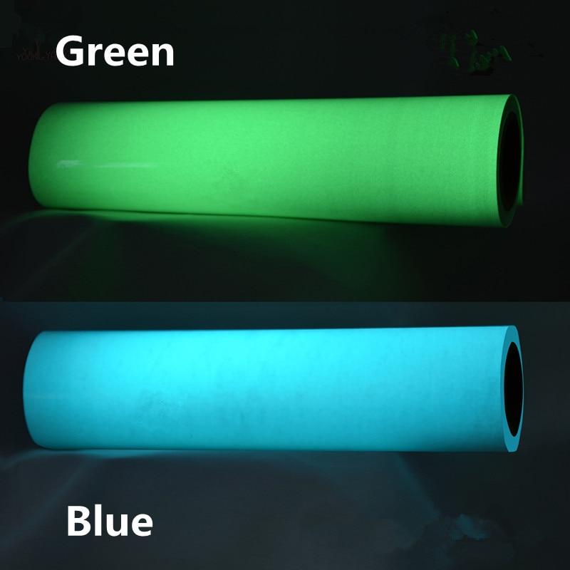Brilho no escuro camiseta vinil filme de vestuário luminosa transferência de calor vinil 7 cores 0.5x1m