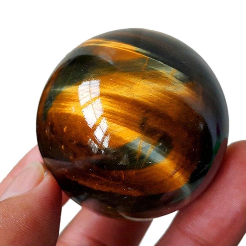 Ojo de Tigre Natural asiático amarillo oscuro, Bola de cuarzo cristal sanador 26 MM, esfera de cristal de cuarzo Natural citrino
