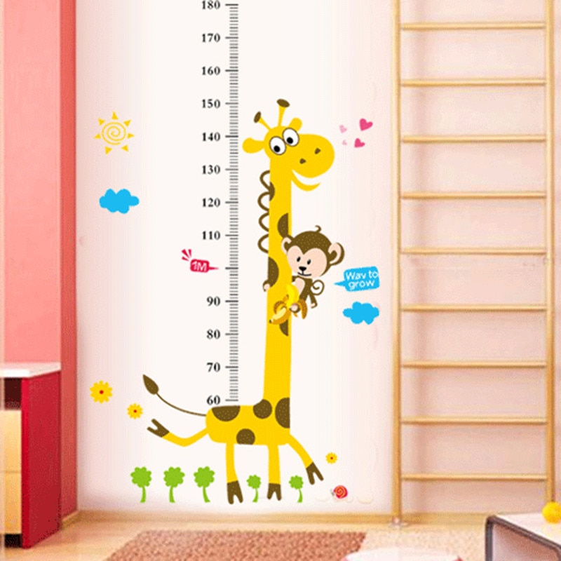 Etiqueta engomada de la pared de la tabla de altura de los niños etiqueta engomada de la decoración de la pared de las etiquetas engomadas de la altura de la jirafa de la historieta