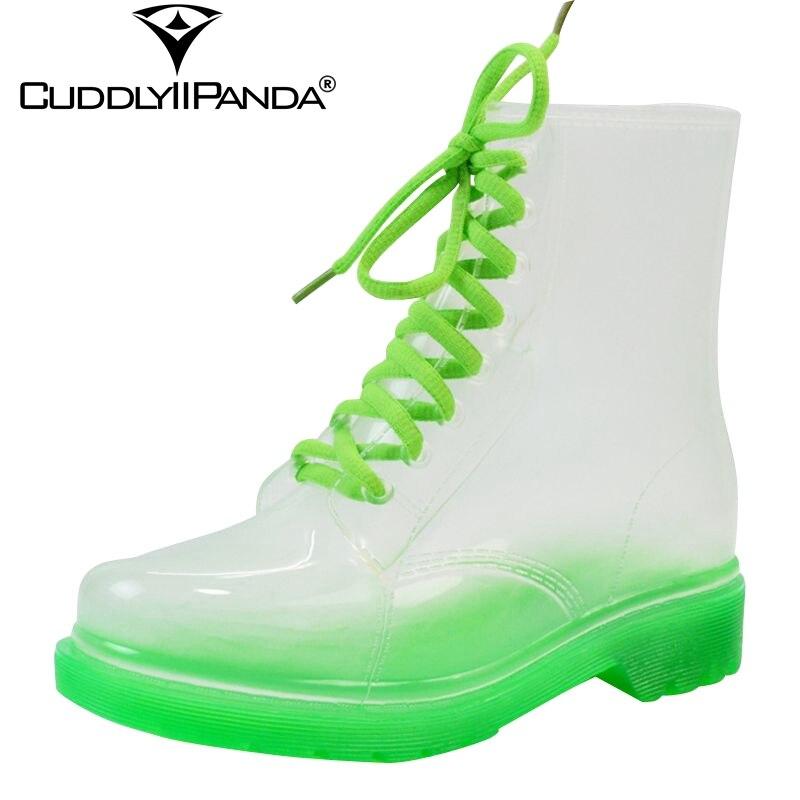 2019 nueva llegada 14 colores Botas de lluvia transparentes mujeres Botas impermeables agua gelatina Zapatos Botas femeninas Zapatos Mujer