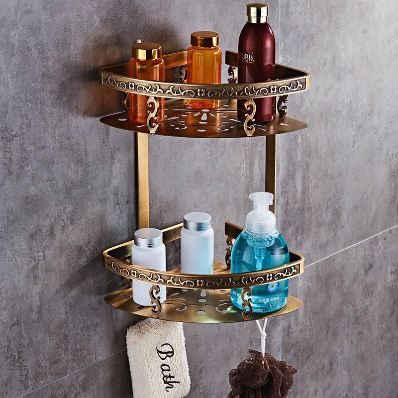 Carved Aluminum Alloy Bathroom Shelf Wall Mounted Basket Handware Antique/Gold/Black/White Shelves