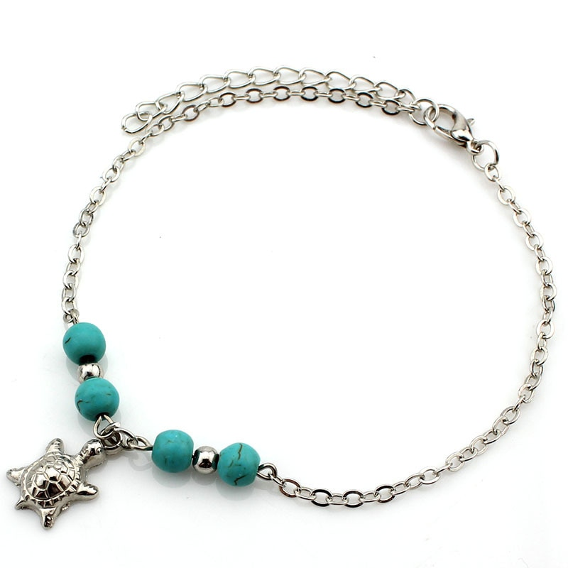 Купить с кэшбэком Boho Women Summer Anklets beach foot chains cross Tree Turtles conch Fatima's hand Ankle Bracelet For Girl Fashion Jewelry